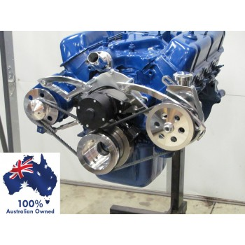 FORD FALCON MUSTANG CLEVELAND 302 351C  SERPENTINE PULLEY AND BRACKET SET WITH ELECTRIC WATER PUMP