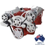 GM HOLDEN CHEVY SBC 283-350-400 ENGINE SERPENTINE KIT - AC AIR COMPRESSOR, ALTERNATOR & POWER STEERING PULLEY AND BRACKETS