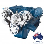 FORD FALCON MUSTANG CLEVELAND 351C, 351M AND 400 SERPENTINE PULLEY AND BRACKET COMPLETE KIT WITH ALTERNATOR AIR CONDITIONING ALL INCLUSIVE - POLISH FINISH