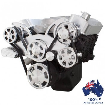 CHEVY BBC 396 - 427 - 454 ENGINE SERPENTINE KIT - AC AIR COMPRESSOR, ALTERNATOR & POWER STEERING PULLEY AND BRACKETS ALL INCLUSIVE