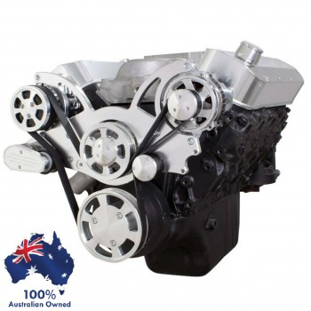 GM HOLDEN CHEVY BBC 396, 427 & 454 ENGINE SERPENTINE KIT - AC AIR COMPRESSOR & ALTERNATOR PULLEY AND BRACKETS