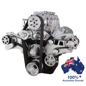 CHEVY BBC 396 - 427 - 454 SUPERCHARGER ENGINE SERPENTINE KIT - AC AIR COMPRESSOR, ALTERNATOR & POWER STEERING PULLEY AND BRACKETS ALL INCLUSIVE
