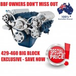 FORD FALCON MUSTANG BBF 429 460 SERPENTINE PULLEY AND BRACKET COMPLETE KIT WITH ALTERNATOR AIR CONDITIONING USING GM TYPE II POWER STEERING PUMP ALL INCLUSIVE