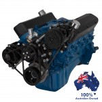 FORD FALCON MUSTANG WINDSOR 289 302 351W VEE BELT PULLEY AND BRACKET COMPLETE KIT AC AND ALTERNATOR BLACK FINISH