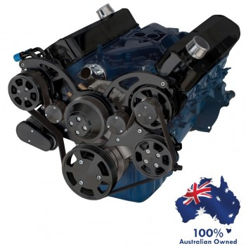 FORD FALCON MUSTANG WINDSOR 351W CLEVOR SERPENTINE PULLEY AND BRACKET COMPLETE KIT WITH ALTERNATOR AIR CONDITIONING USING GM TYPE II POWER STEERING PUMP ALL INCLUSIVE - BLACK FINISH