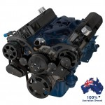 FORD FALCON MUSTANG WINDSOR 289 302 351W SERPENTINE PULLEY AND BRACKET COMPLETE KIT WITH ALTERNATOR AND AIR CONDITIONING ALL INCLUSIVE - BLACK FINISH