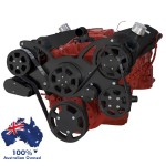 GM HOLDEN CHEVY SBC 283-350-400 ENGINE SERPENTINE KIT - AC AIR COMPRESSOR, ALTERNATOR & POWER STEERING PULLEY AND BRACKETS BLACK FINISH