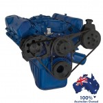 FORD FALCON MUSTANG CLEVELAND 302 351C VEE BELT PULLEY AND BRACKET KIT ALTERNATOR AND POWER STEERING GLOSS BLACK FINISH