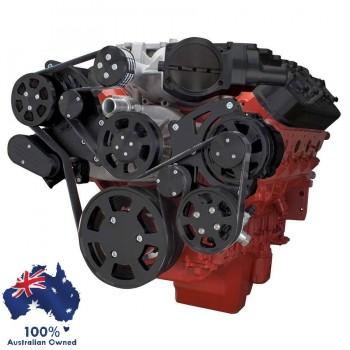 GM HOLDEN CHEVY LSA / LS 9 ENGINE SERPENTINE KIT - AC AIR COMPRESSOR, ALTERNATOR & POWER STEERING  BLACK FINISH