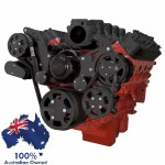 GM HOLDEN CHEVY LS 1,2,3 AND 6 ENGINE SERPENTINE KIT - AC AIR COMPRESSOR, ALTERNATOR & POWER STEERING PULLEY AND BRACKETS BLACK FINISH SUIT ELECTRIC WATER PUMP