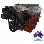 GM HOLDEN CHEVY LSA / LS 9 ENGINE SERPENTINE KIT - AC AIR COMPRESSOR, ALTERNATOR & POWER STEERING  BLACK DIAMOND FINISH