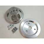 CHEVY SBC PULLEY COMBO SINGLE GROOVE ALLOY SHORT WATER PUMP SET BILLET CRANK AND WATERPUMP