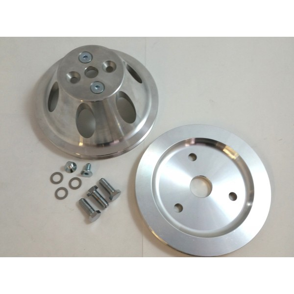 CHEVY SBC PULLEY COMBO SINGLE GROOVE ALLOY SHORT WATER