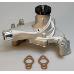 CHEVY SBC LONG WATER PUMP ALUMINUM SATIN HIGH VOLUME STAINLESS BOLT KIT INCLUDED BEST AVAILAILABLE