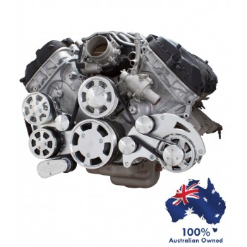 FORD FALCON MUSTANG COYOTE 5.0 SERPENTINE PULLEY AND BRACKET COMPLETE KIT WITH ALTERNATOR AIR CONDITIONING USING GM TYPE II POWER STEERING PUMP ALL INCLUSIVE