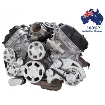 FORD FALCON MUSTANG COYOTE 5.0 SERPENTINE PULLEY AND BRACKET COMPLETE KIT WITH ALTERNATOR AND GM TYPE II POWER STEERING PUMP ALL INCLUSIVE