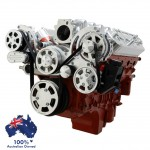 GM HOLDEN CHEVY LS 1,2,3 AND 6 ENGINE SERPENTINE KIT - AC AIR COMPRESSOR, ALTERNATOR & POWER STEERING  MID MOUNT