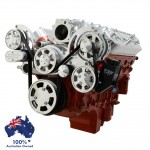 GM HOLDEN CHEVY LS 1,2,3 AND 6 ENGINE SERPENTINE KIT -  ALTERNATOR & POWER STEERING PULLEY AND BRACKETS MID MOUNT