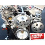 CHEVY HOLDEN GM HOTROD SBC LONG WATER PUMP PULLEYS, BRACKET KIT WITH PUMP AND ALTERNATOR