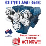 FORD FALCON MUSTANG CLEVELAND 351C, 351M AND 400 SERPENTINE PULLEY AND BRACKET COMPLETE KIT WITH ALTERNATOR AIR CONDITIONING USING GM TYPE II POWER STEERING PUMP ALL INCLUSIVE